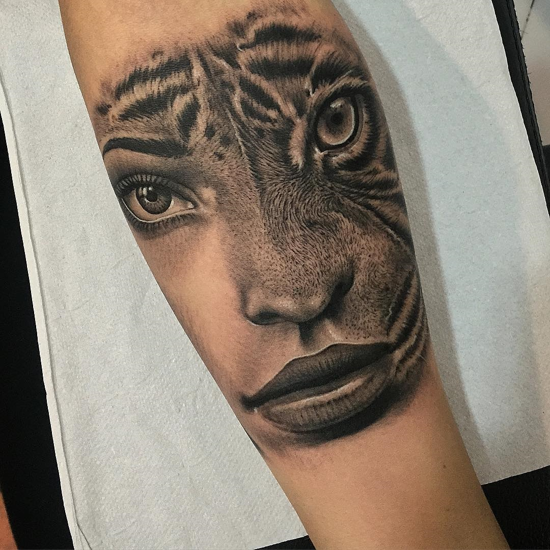 Womans portrait & tiger tattoo