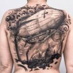 Zeppelin Nautilus Jules Verne tattoo
