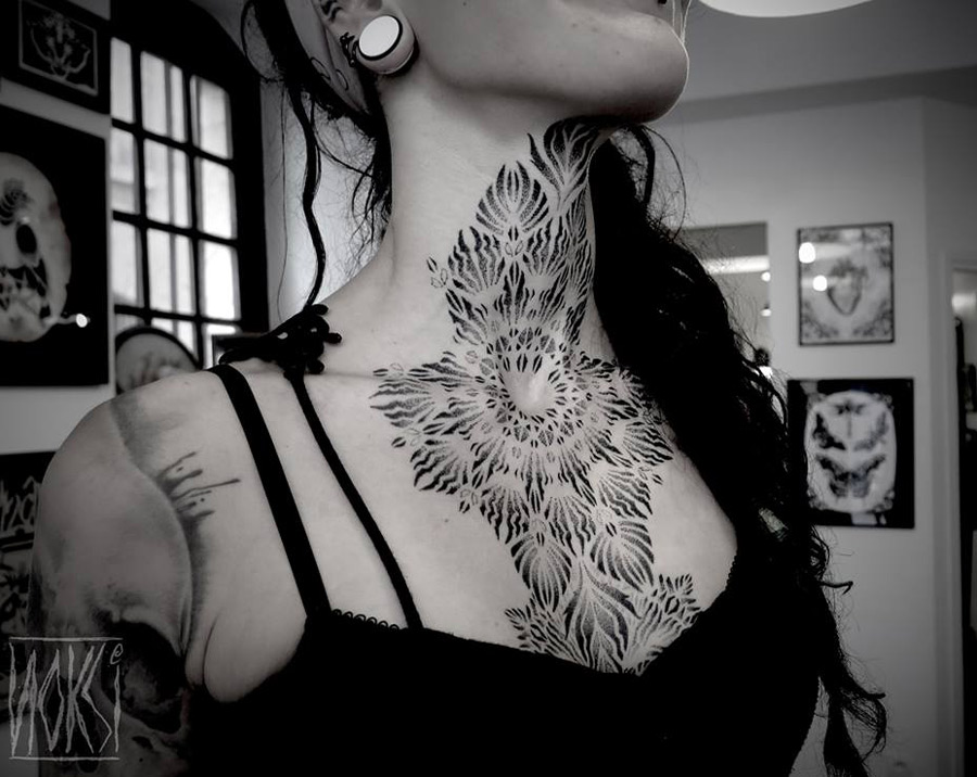 Neck & chest dotwork