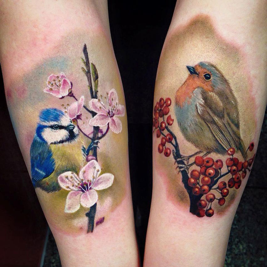 blue tit robin on forearms best tattoo design ideas. Black Bedroom Furniture Sets. Home Design Ideas