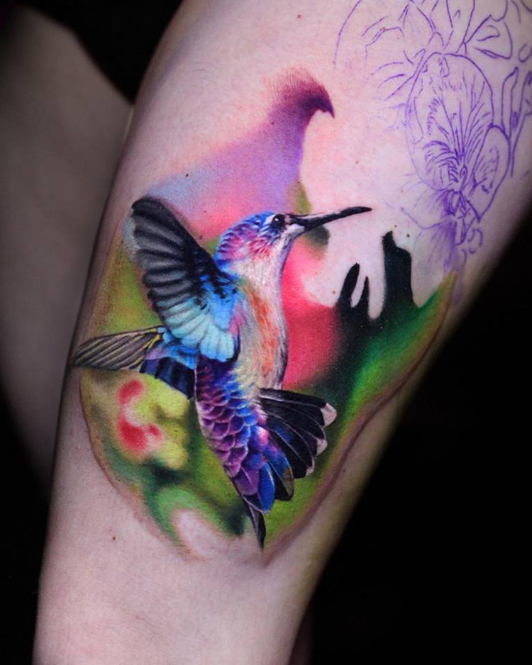 Colorful hummingbird best tattoo design ideas for Hummingbird tattoo designs