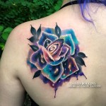 Cosmic Rose Shoulder Tattoo