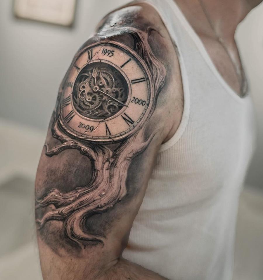 4ddfded6ac99e Family Tree Clock Fusion | Best tattoo design ideas