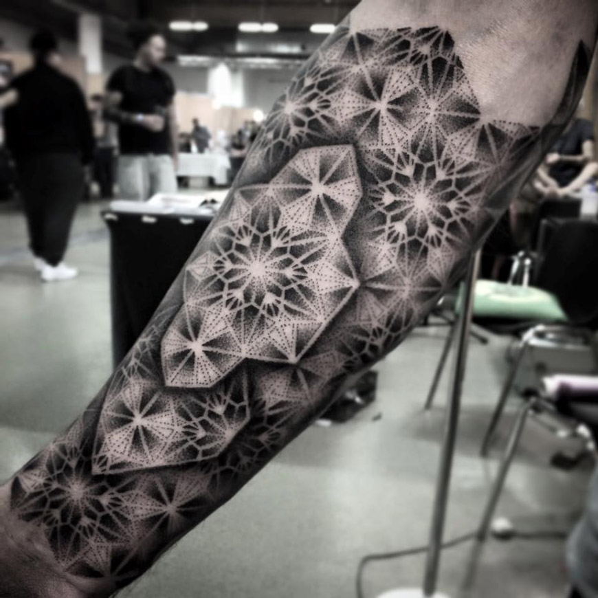 Tattoo Designs Geometric: Stunning Geometric Dotwork Forearm Piece