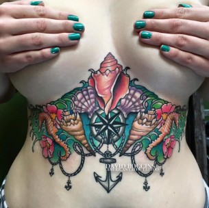 Nautical Underboob Tattoo