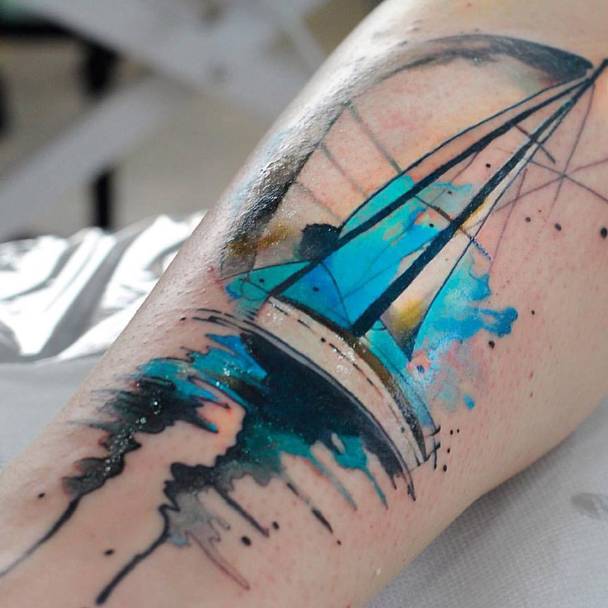 Sketch Sailboat With Blue Watercolors Best Tattoo Design Ideas