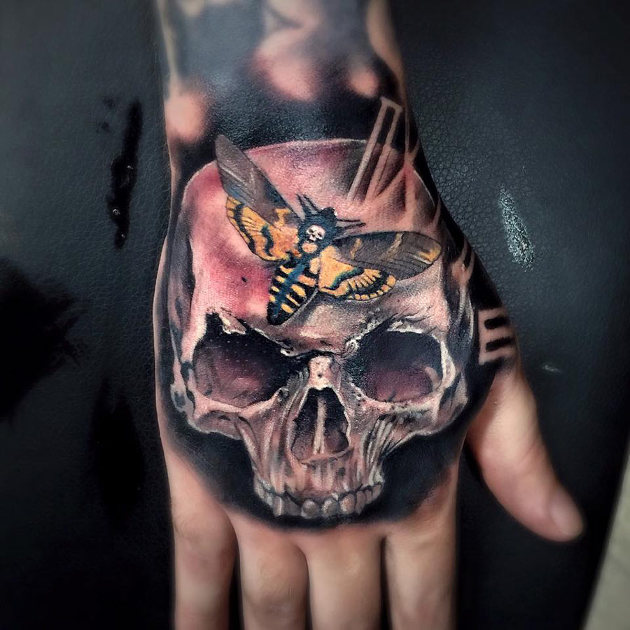 Hand tattoo with skull death 39 s head hawkmoth best for Animal hand tattoos