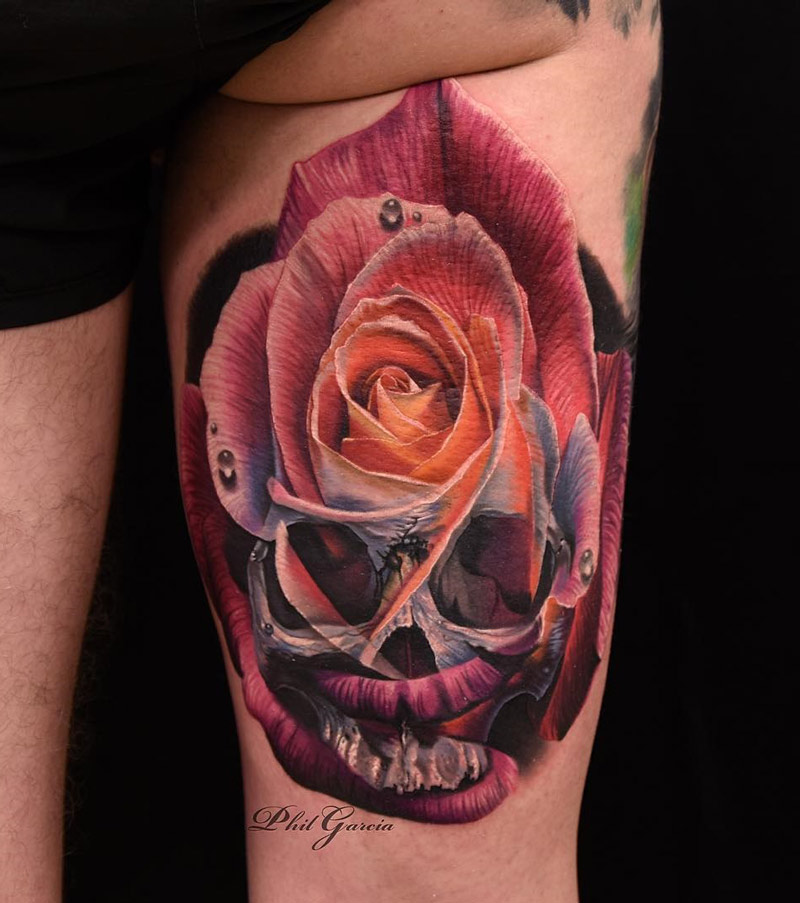 Skull & Rose Merged Together | Best tattoo design ideas