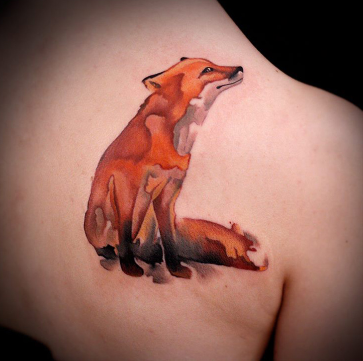 Watercolor Fox Tattoo