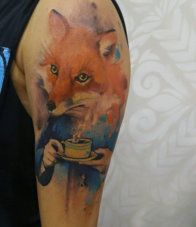 Fox Drinking Tea