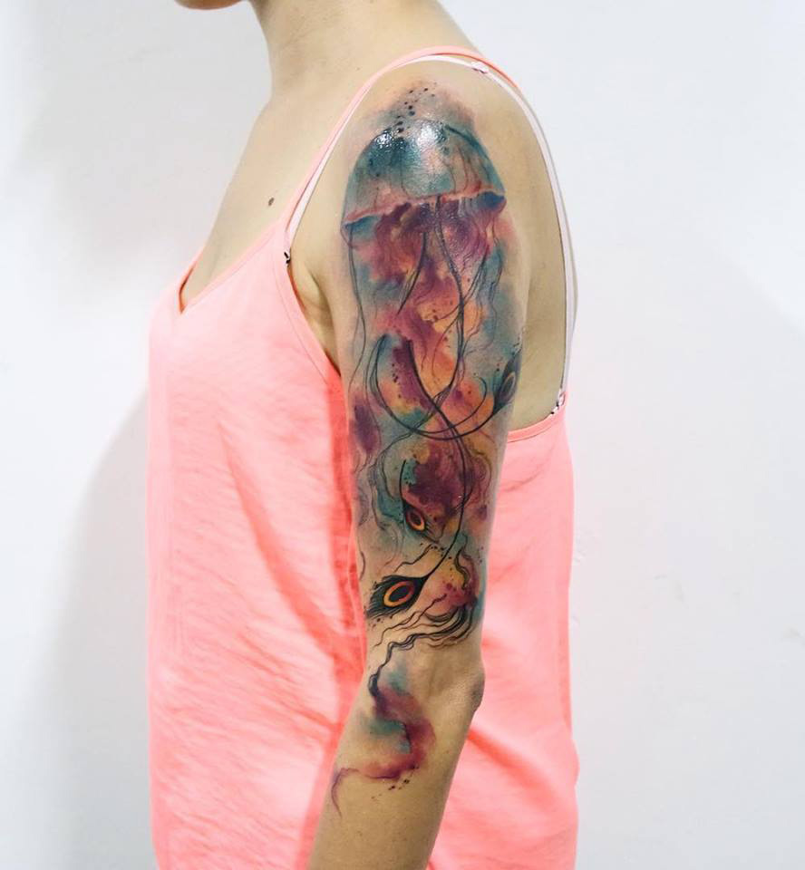 Beautiful Jellyfish On Arm | Best tattoo design ideas