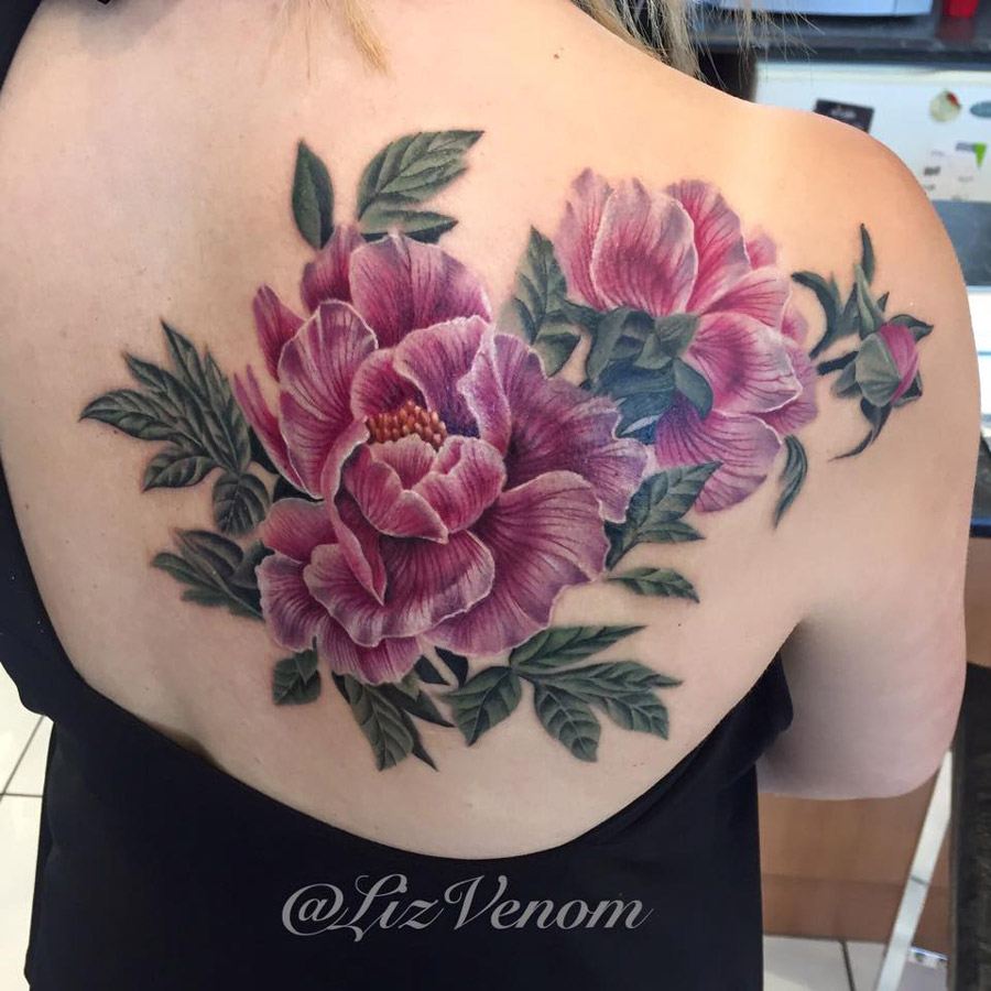 Pretty peony shoulder blade piece best tattoo design ideas mightylinksfo