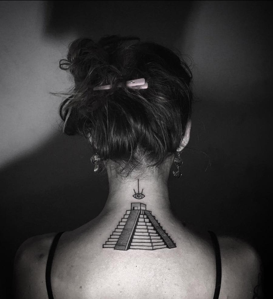 Mayan Pyramid Neck Tattoo