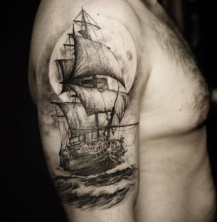Sailing Ship & Moon