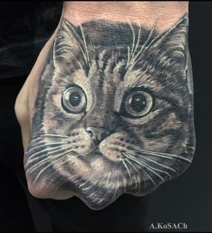 Cat Hand Tattoo