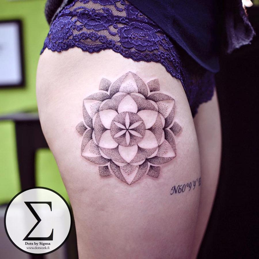 dotwork mandala on girls hip best tattoo design ideas. Black Bedroom Furniture Sets. Home Design Ideas