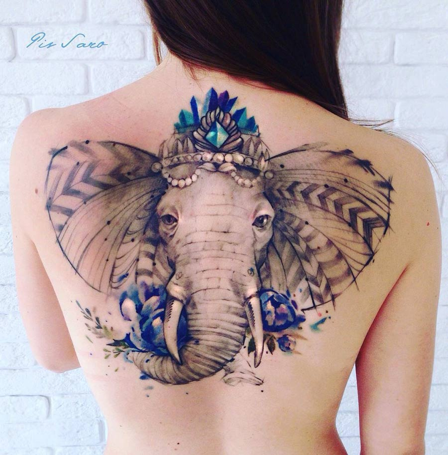 Ornate Elephant Back Tattoo