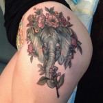Floral Elephant Hip Tattoo