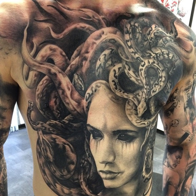 Medusa Chest & Belly Tattoo