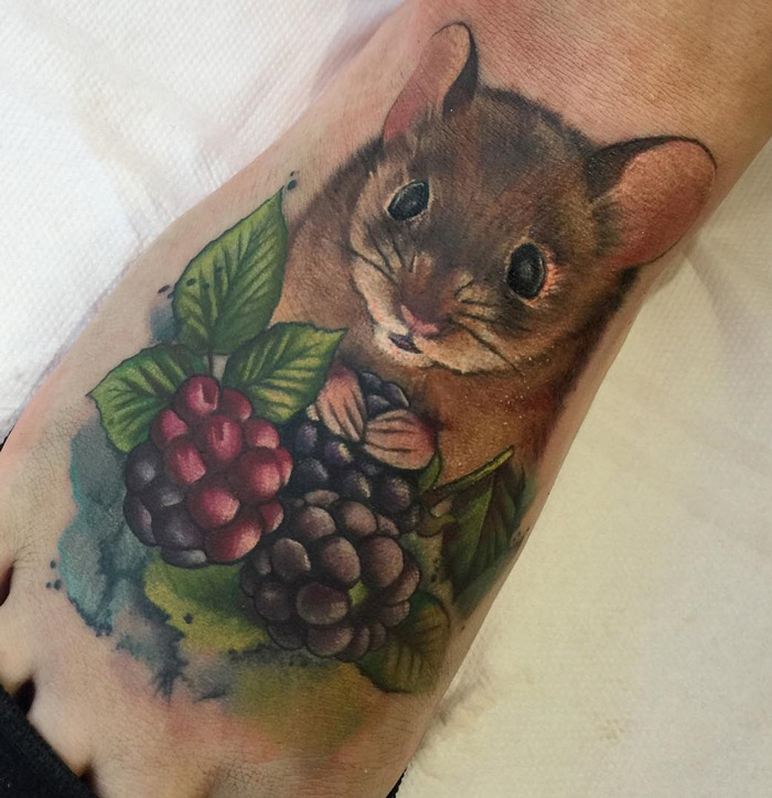 Mouse With Berries Foot Tattoo