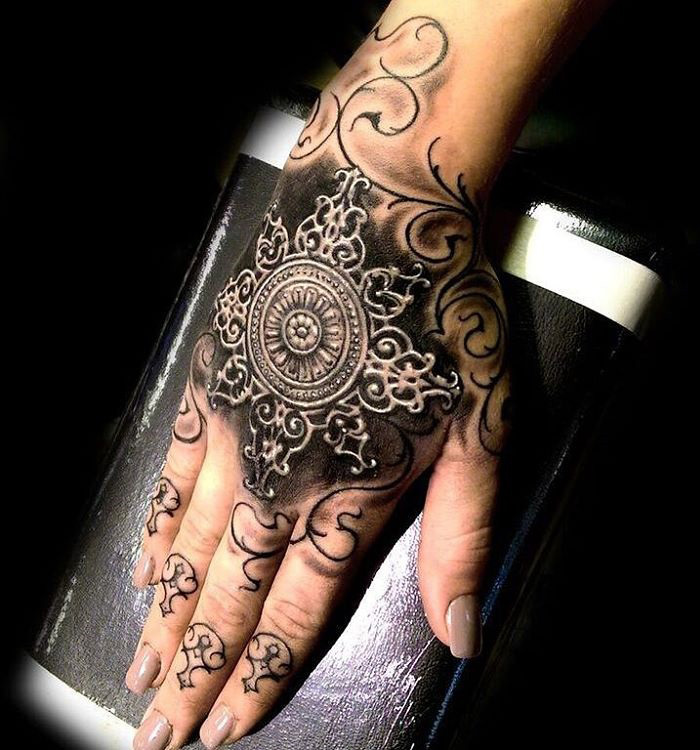 ornamental design on girls hand best tattoo design ideas. Black Bedroom Furniture Sets. Home Design Ideas