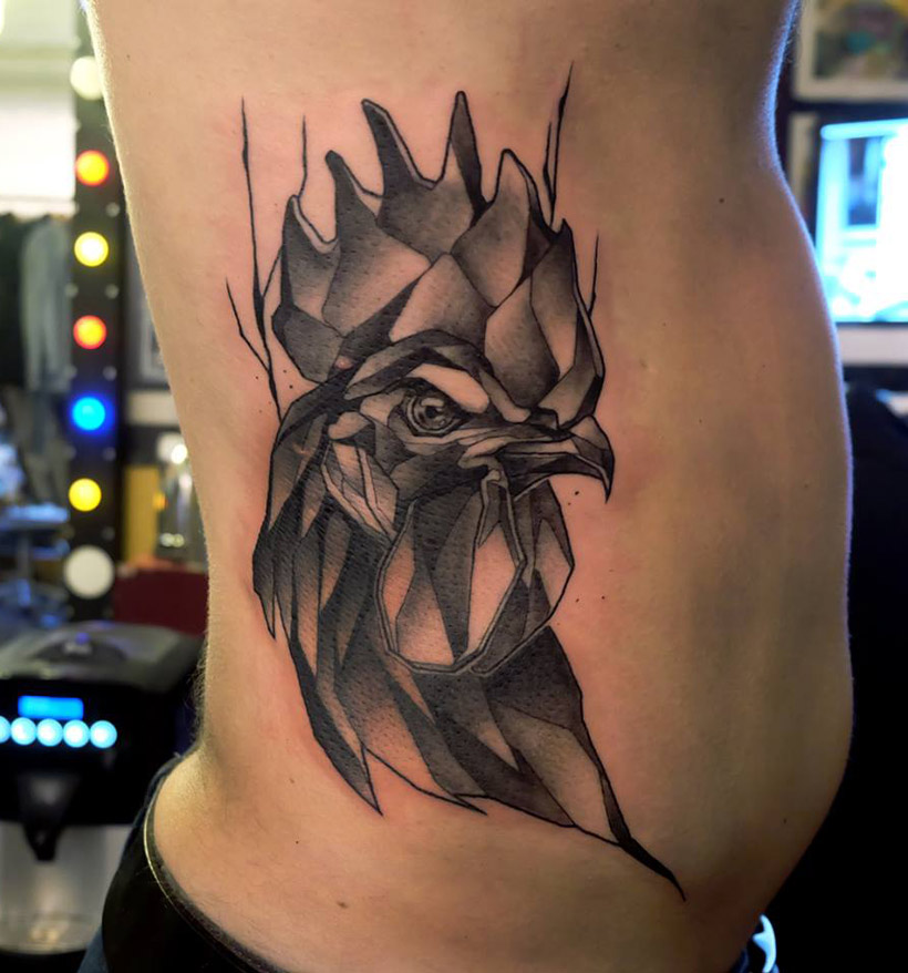 Rooster Side Tattoo