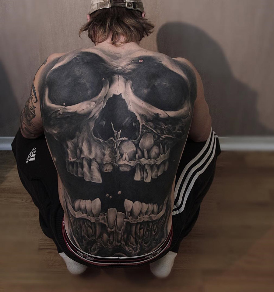 Skull Back Tattoo Best Tattoo Design Ideas