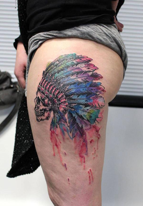 Skull Indian Headdress Best Tattoo Design Ideas