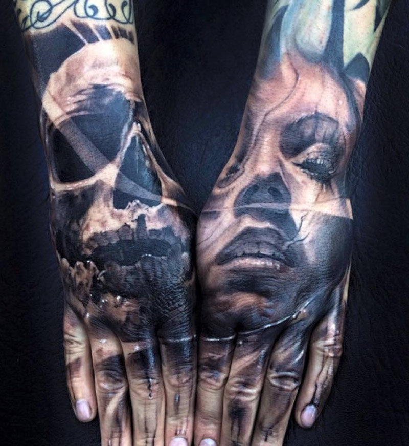 Skull & Portrait Hand Tattoos