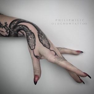 Snakes Hand Tattoo