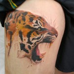Tiger Thigh Tattoo