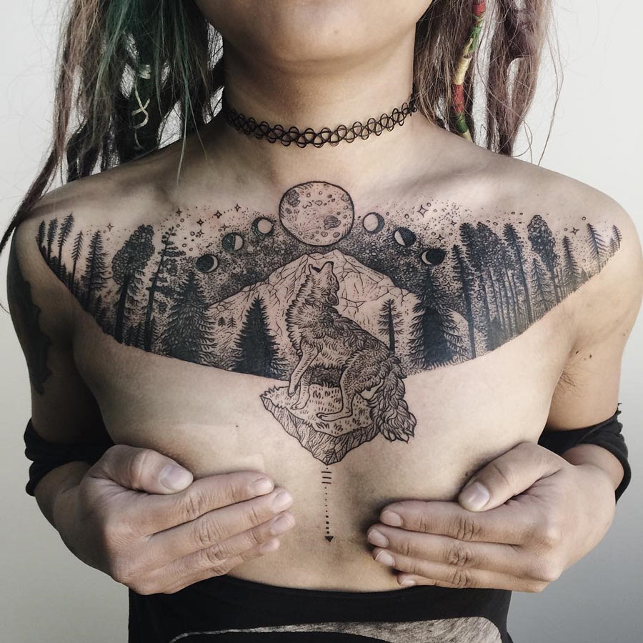 Coyote & mountain Chest Tattoo