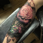 Henna background, Pink Rose & Jewel arm tattoo