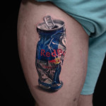 Red Bull Can Thigh Tattoo