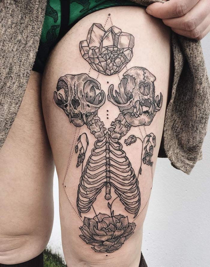 siamese persian cat skeleton best tattoo design ideas