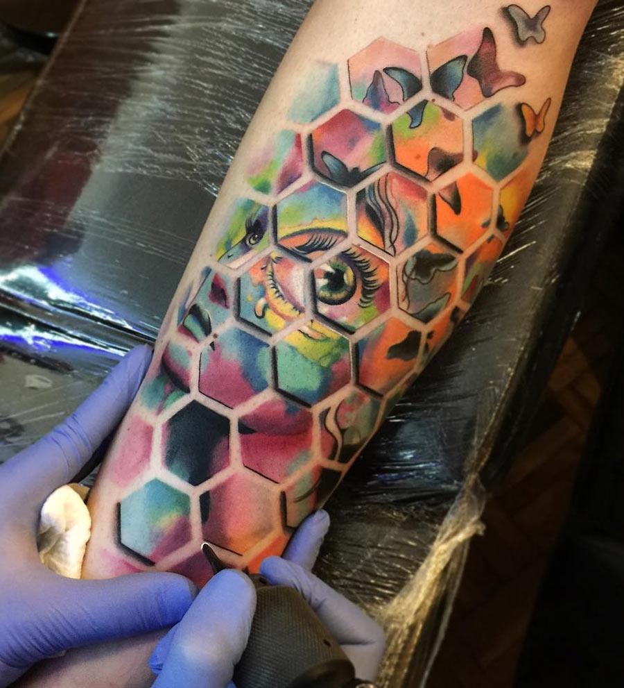 Abstract Hexagonal Shapes