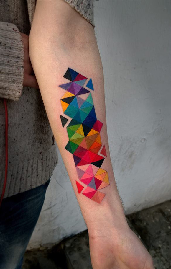 Colorful Geometric Forearm Tattoo