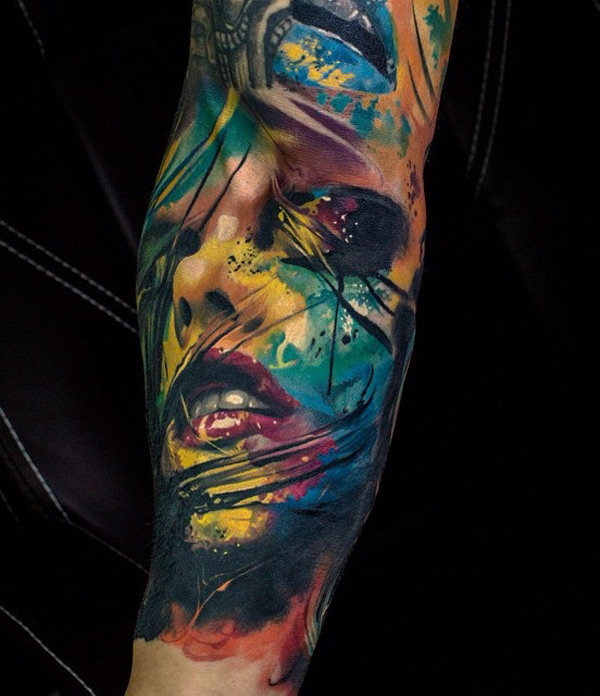 Colorful portrait tattoo