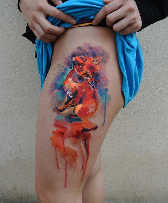 Vivid Watercolor Fox