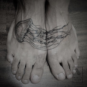 Jellyfish Foot Tattoo