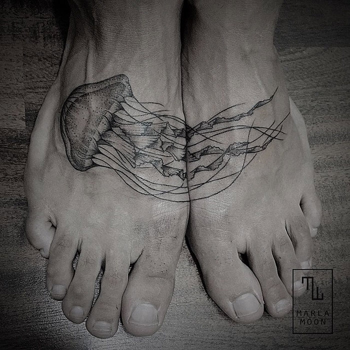 Jellyfish tattoo foot