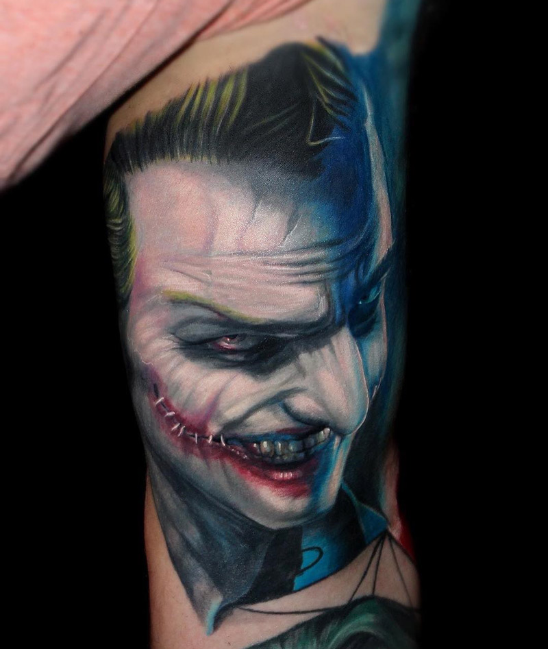 Outstanding Joker Bicep Tattoo