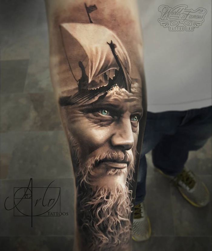 King Ragnar Viking Ship Best Tattoo Design Ideas