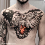 Owl & Heart Chest tattoo