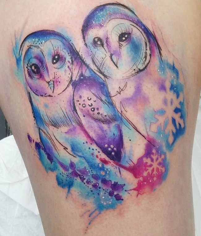 Owls & Snowflakes Tattoo