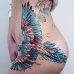 Parrot Hip Tattoo