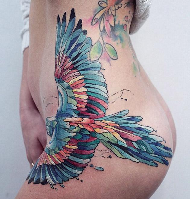 Parrot Hip Tattoo