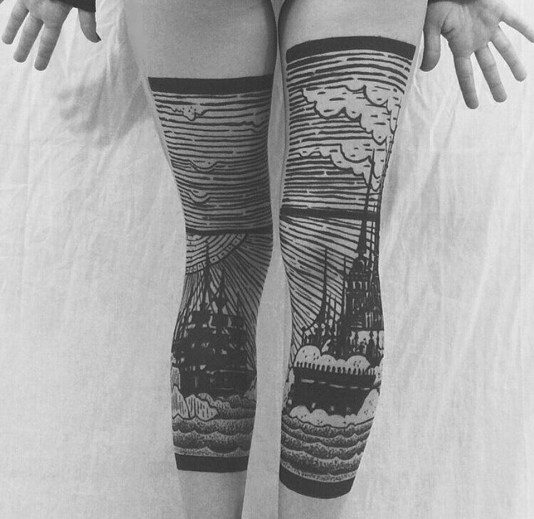 Ship & Castle Double Leg Tattoos