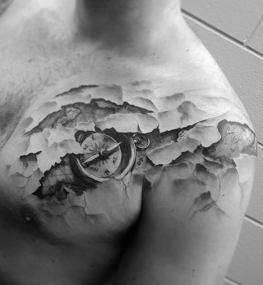 Skin Tear Map & Compass Travel Tattoo | Best tattoo design