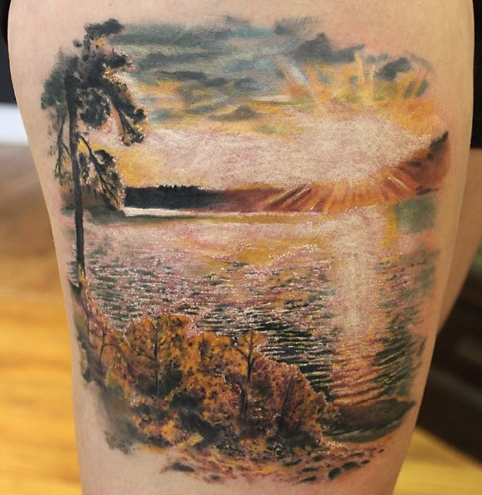 Black And White Sunset Tattoos: Best Tattoo Design Ideas